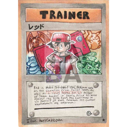 Trainer Red - Reds Adventure Time Custom Pokemon Card Silver Foil