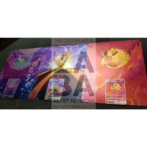 Triple Pack Dark Flareon Jolteon & Vaporeon 8X10.5 Holographic Posters + Cards Gift Set Custom
