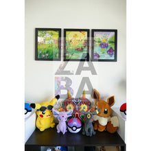 Triple Set Kanto Starters 8.5 X 11 Continuous Art Poster Prints By Lunumbra