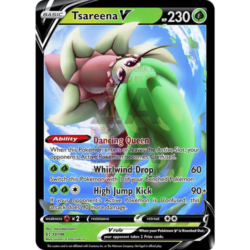 Tsareena V Custom Pokemon Card Silver Foil