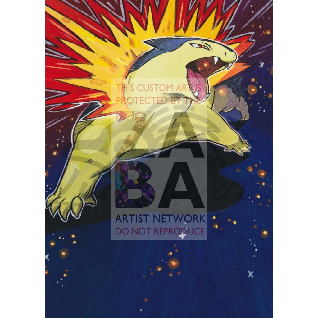 Typhlosion 20/162 Xy Breakthrough Extended Art Custom Pokemon Card Textless Silver Holographic