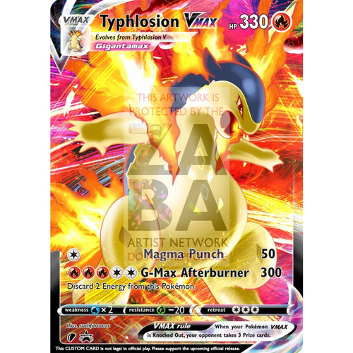 Typhlosion Vmax (Dynamax) Custom Pokemon Card Regular / Silver Foil