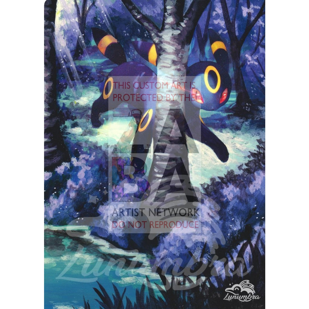 Umbreon 120/214 Sun & Moon Lost Thunder Extended Art Custom Pokemon Card Textless Silver Holographic