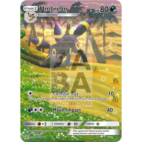 Umbreon 24/100 Ex Sandstorm Custom Pokemon Card Silver Holographic