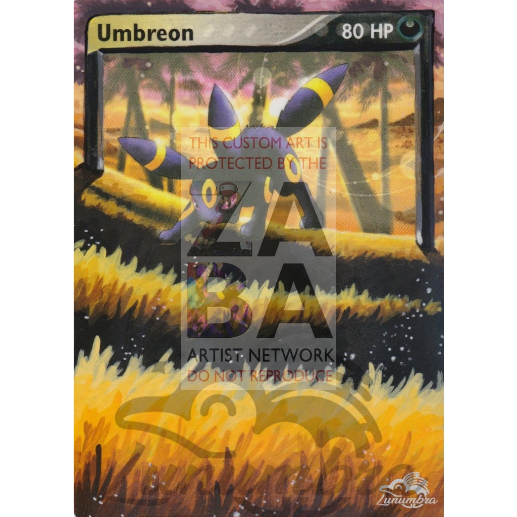 Umbreon 24/100 Ex Sandstorm Extended Art Custom Pokemon Card Textless Silver Holographic