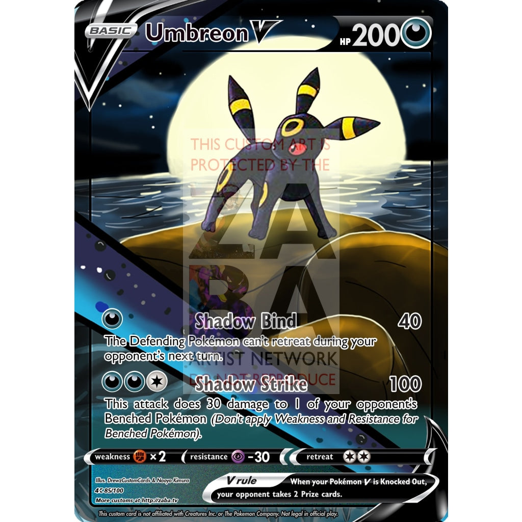 Umbreon V Custom Pokemon Card Silver Foil