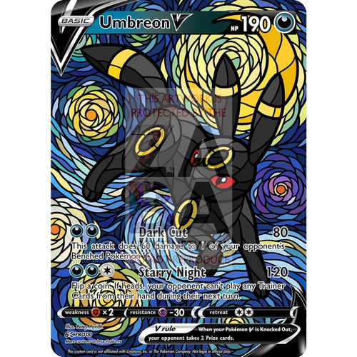 Umbreon V Stained-Glass Custom Pokemon Card
