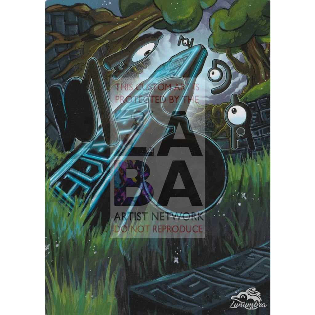 Unown 30/98 Xy Ancient Origins Extended Art Custom Pokemon Card Textless Silver Holographic