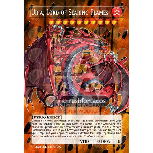 Uria Lord Of Searing Flames Full Art Orica- Custom Yu-Gi-Oh! Card