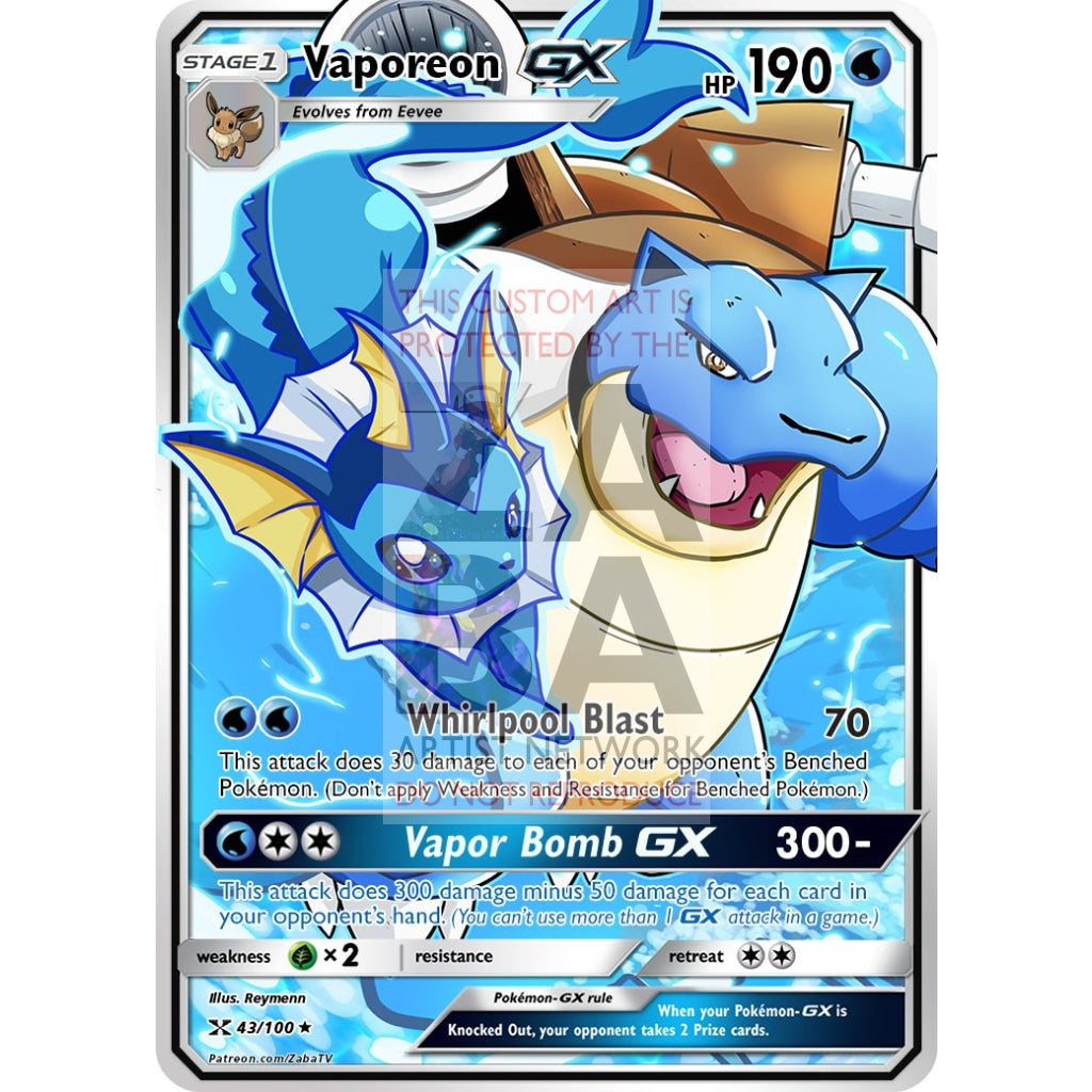 Vaporeon Gx Custom Pokemon Card