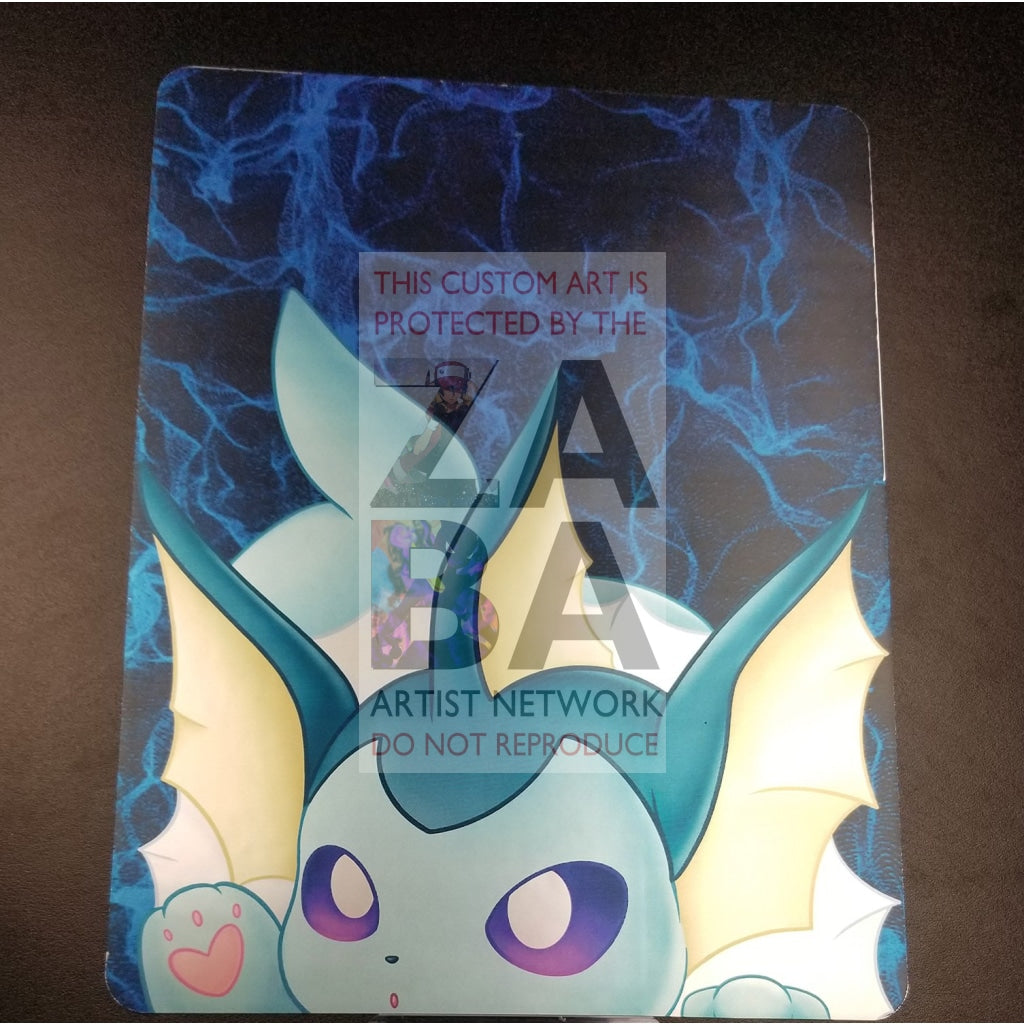Vaporeon Maeartistry 8X10.5 Silver Foil Poster Chibi Close-Up Custom Pokemon Card
