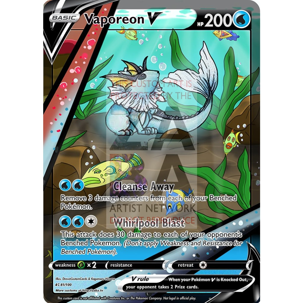 Vaporeon V Custom Pokemon Card Silver Foil