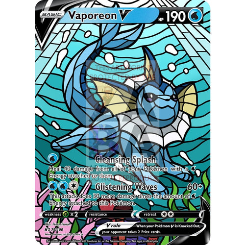 Vaporeon V Stained-Glass Custom Pokemon Card