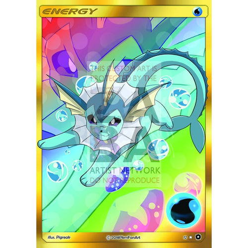 Vaporeon Water Energy Pigreak Custom Pokemon Card