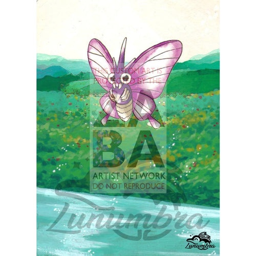 Venomoth 29/64 Jungle Set Extended Art Custom Pokemon Card Textless Silver Holographic