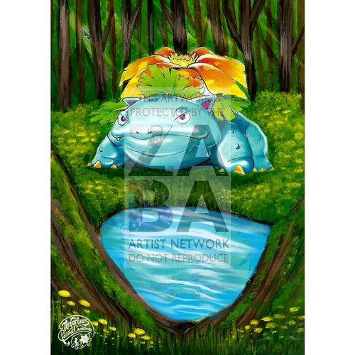 Venusaur 15/102 Base Set Extended Art Custom Pokemon Card Silver Holo