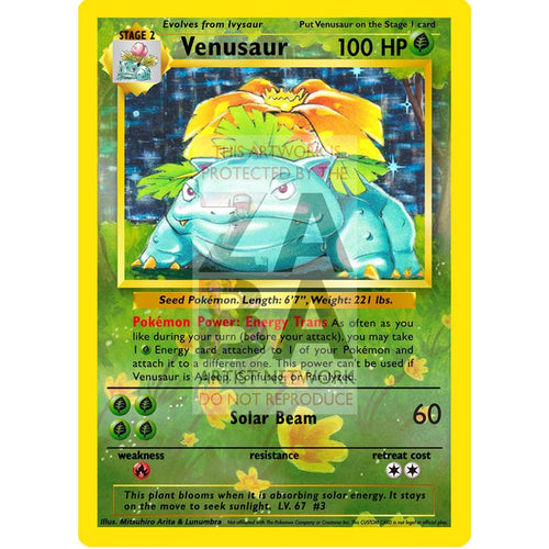 Venusaur 15/102 Base Set (+Text) Extended Art Custom Pokemon Card Silver Foil