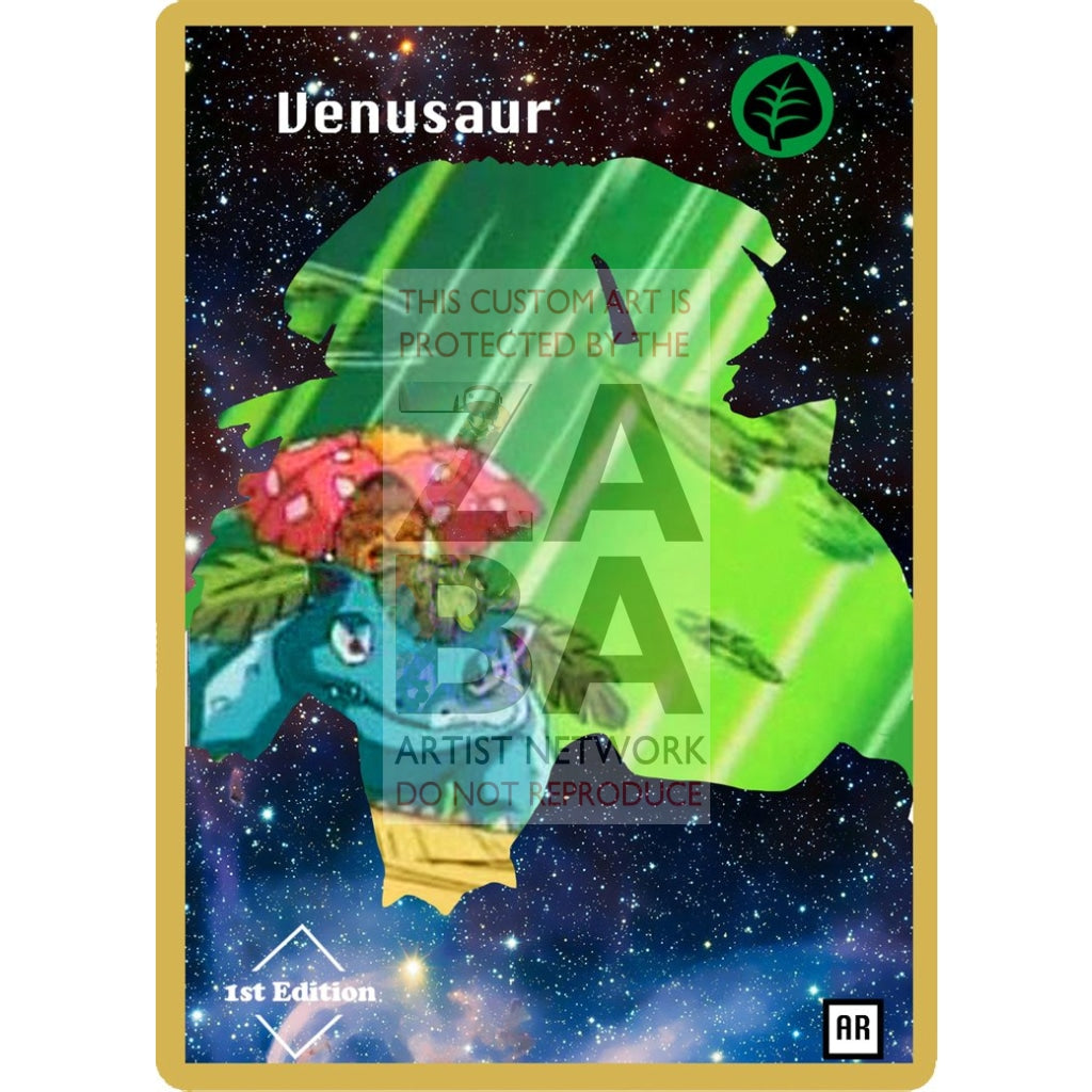 Venusaur Anime Silhouette (Drewzcustomcards) - Custom Pokemon Card Silver Holographic