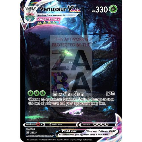 Venusaur Vmax Custom Pokemon Card Shattered Glass Selective Holo