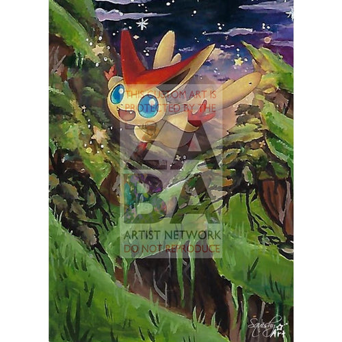 Victini 10/145 Guardians Rising Extended Art Custom Pokemon Card Textless Silver Holographic