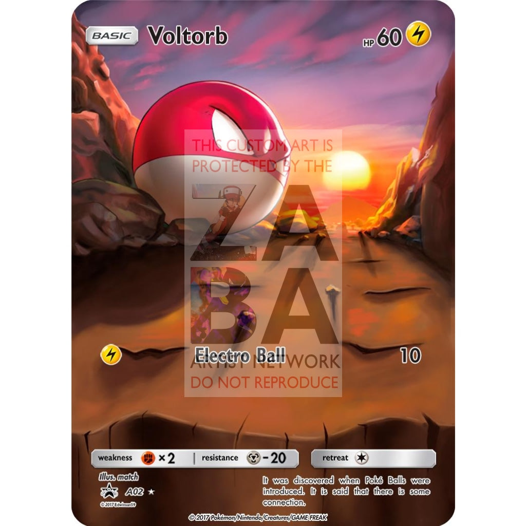 Voltorb 30/72 Shining Legends Extended Art Custom Pokemon Card Silver Holographic