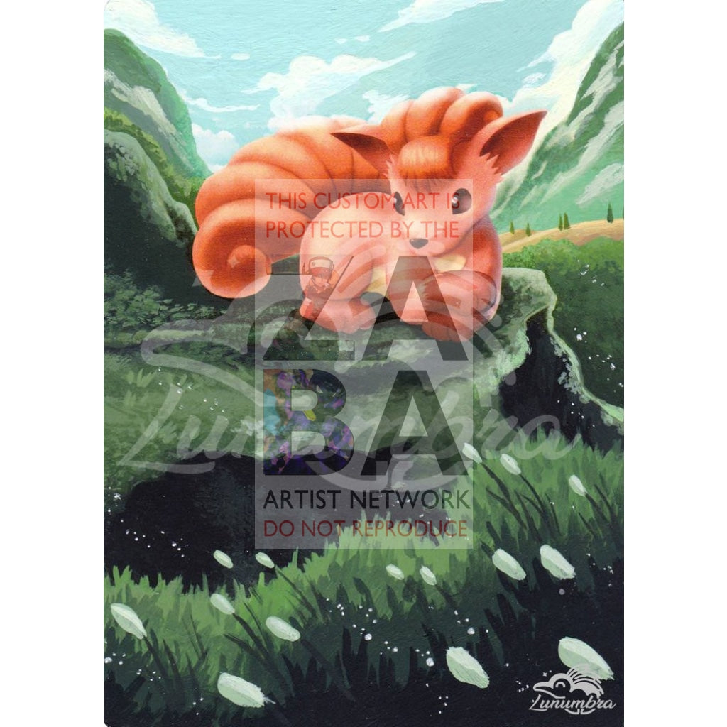 Vulpix 20/113 Legendary Treasures Extended Art Custom Pokemon Card Textless Silver Holographic