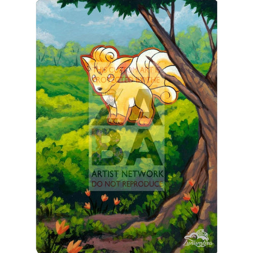 Vulpix 68/102 Base Set Extended Art Custom Pokemon Card Textless Silver Holographic