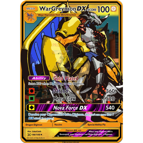 Wargreymon Dx - Custom Digimon Card Silver Holographic