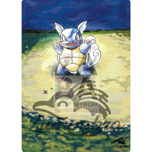 Wartortle 42/102 Base Set Extended Art Custom Pokemon Card Textless Silver Holographic
