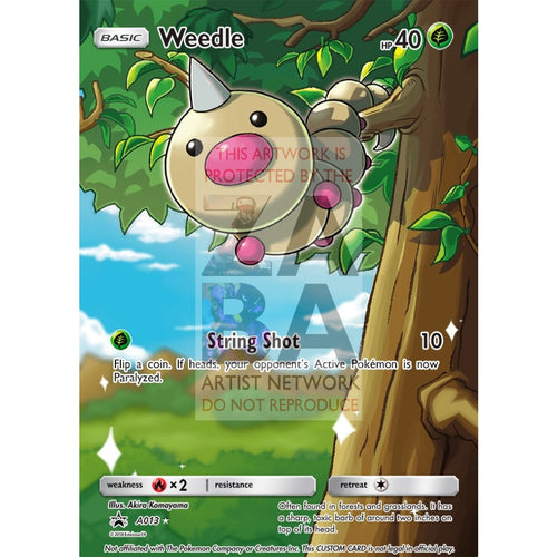 Weedle 1/39 Kalos Starter Kit Extended Art Custom Pokemon Card Silver Foil / Text