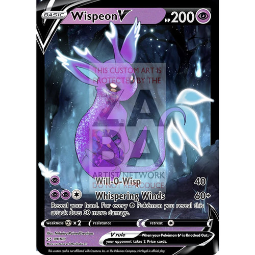 Wispeon V Eeveelution Fakemon Custom Pokemon Card Silver Foil