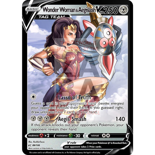 Wonder Woman & Aegislash V Custom Pokemon Card Silver Foil