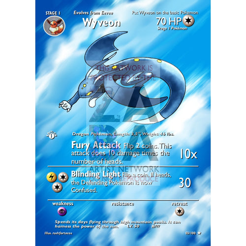 Wyveon (Eeveelution) Custom Pokemon Card Extended Plus Text