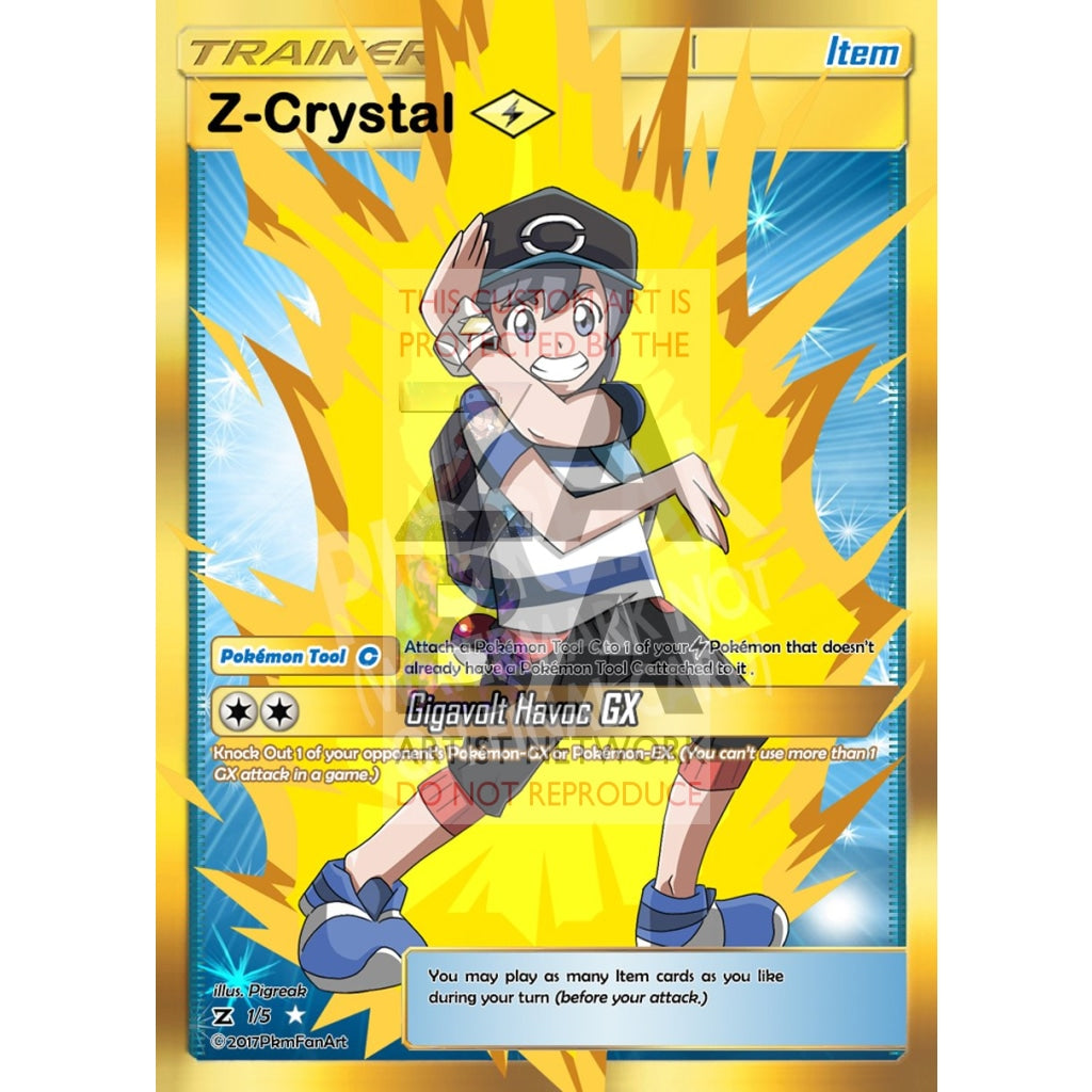 Z-Crystal Electric Item Card Pigreak Custom Pokemon