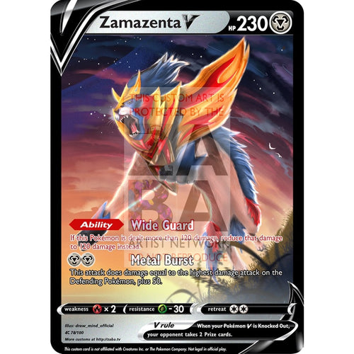 Zamazenta V Custom Pokemon Card Silver Foil