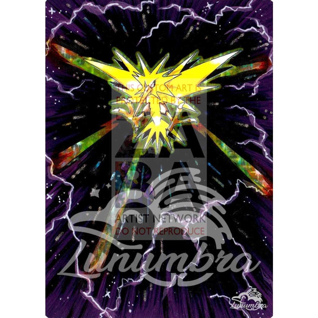 Zapdos 16/102 Base Set Extended Art Custom Pokemon Card Textless Silver Holographic