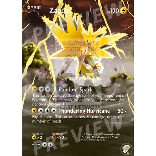 Zapdos 22/113 Legendary Treasures Extended Art Custom Pokemon Card