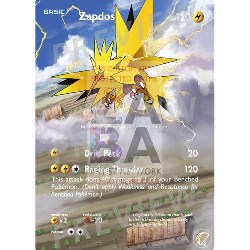 Zapdos 23/108 Roaring Skies Extended Art Custom Pokemon Card