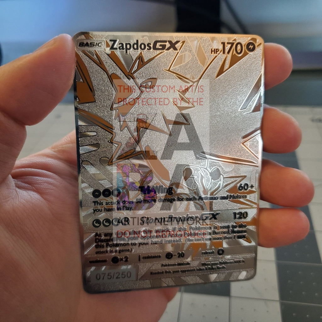 Zapdos Gx Full Metal Textured Luxury Custom Pokemon Card