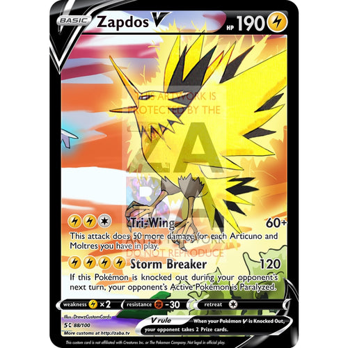 Zapdos V Custom Pokemon Card Silver Foil
