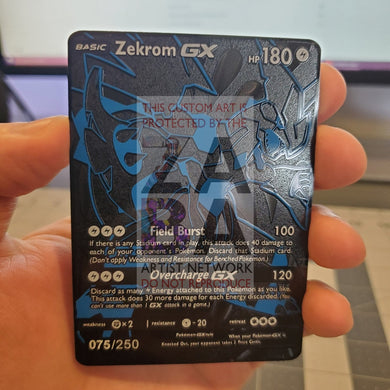 Zekrom Gx Full Metal Textured Luxury Custom Pokemon Card