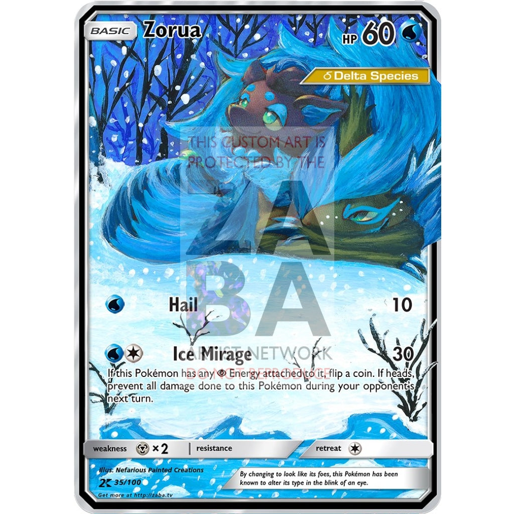 Zorua Delta Species Custom Pokemon Card Silver Holographic