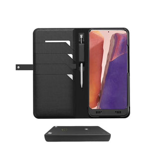 Galaxy Note 20 Ultra Leather Wallet Smart case +Battery, +Memory, +SDcard & EnviroSensor, ++