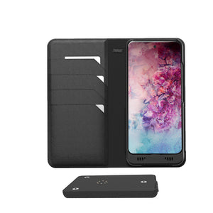 Samsung Galaxy Note 10+ Leather Wallet Smart Case with EnviroSensor and Turbo3 Smart Blade with 3600mAh Battery, and µSD Card Slot