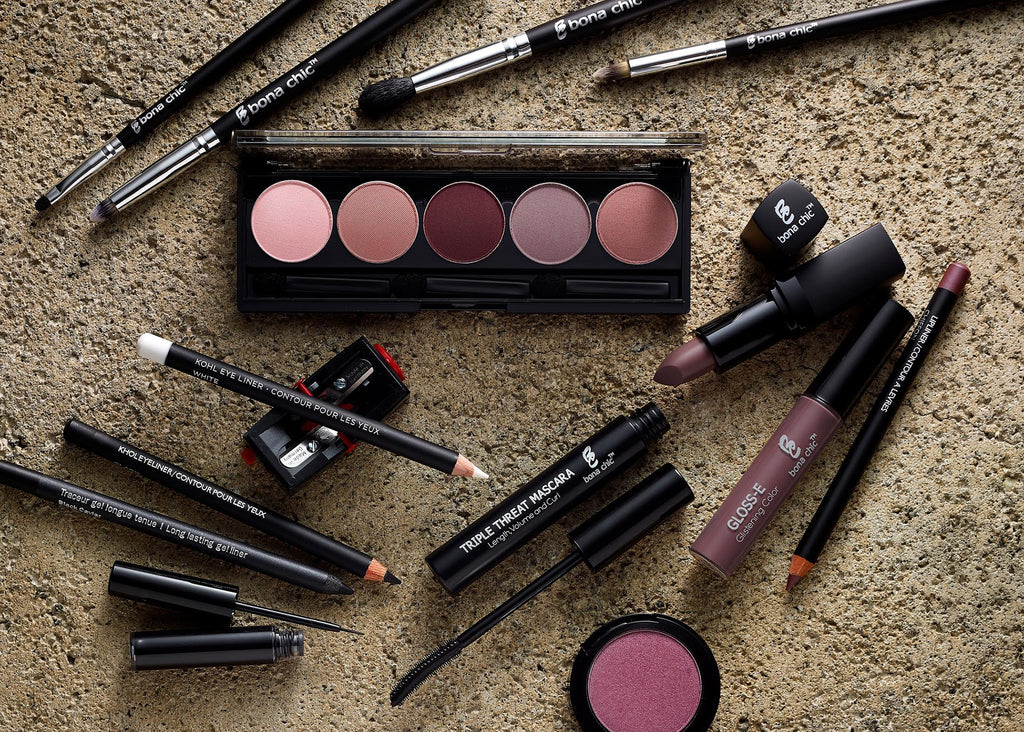 Sidewalk Collection, Grays, greys, mauves, matching lipstick, Gloss-E and lipliner, eyeliners, eyeshadow brushes and more