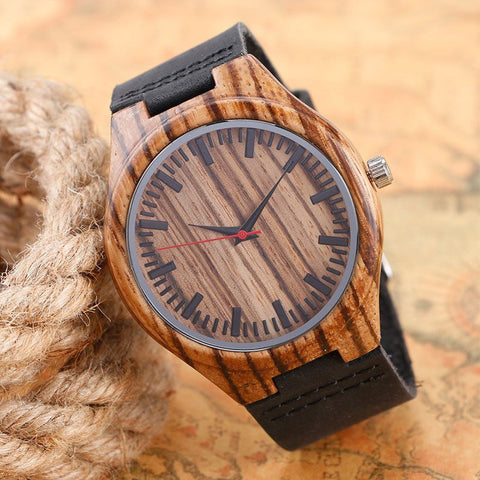 Casual Handmade Nature Watch Wood Bamboo Creative Men Women Genuine Leather Band Strap Analog Wrist Watch - amazingbigdiscounts