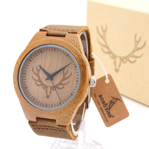 Wooden Men's Watch Quarts 100% Handmade  With Japanese Miyota Movement And Real Leather Strap For Gift - amazingbigdiscounts