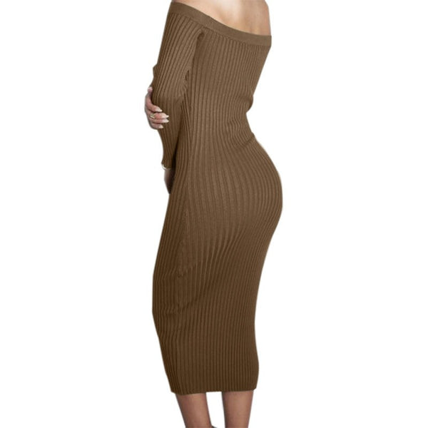 Fashion Long Sleeve Off Shoulder Slash Neck Sexy Club Dress Slim Bodycon Knitted Sweater Knee-Length Party Night Dresses