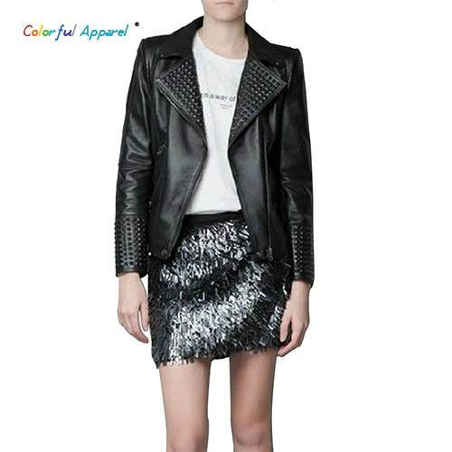 Leather Motorcycle Jacket  Women Winter Jackets