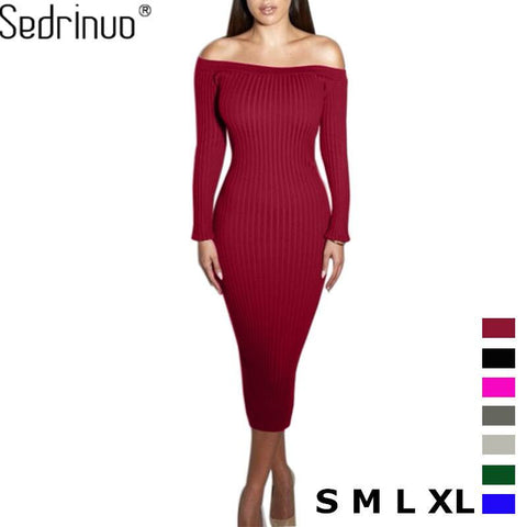 Fashion Long Sleeve Off Shoulder Slash Neck Sexy Club Dress Slim Bodycon Knitted Sweater Knee-Length Party Night Dresses - amazingbigdiscounts